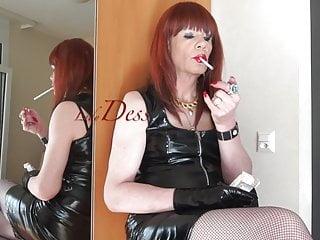 Smoking lady in pvc...