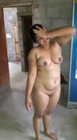 Naked girl in park