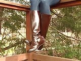 Leather boots shoeplay dangling