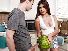 StepSister Caught   Brother Masturbating With A Watermelon