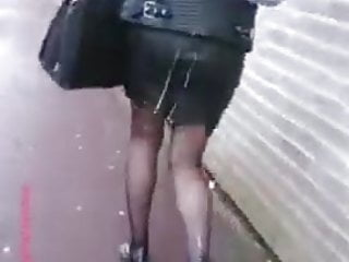Cum on bitch skirt and pantyhose