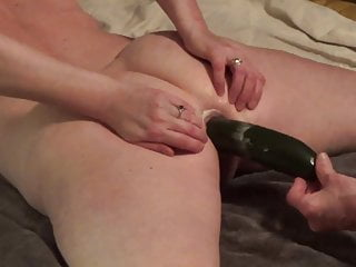 PR – Cucumber shoved deeply up her ass – Ouch!