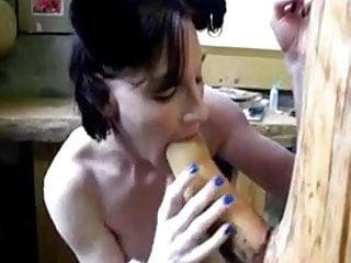 Goth girl fucks giant wooden cock...