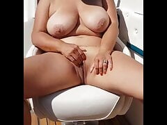 Handjob with cum on tits – boat sex outdoors