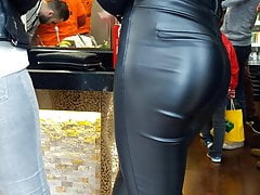TIght leather ass teen