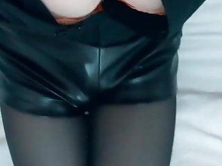 Black tights and pvc shorts...