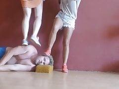 Head trampling in sneakers
