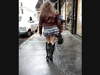 Candid Leather (Sexy Babe in Leather boots)