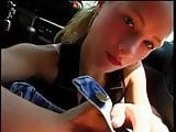 POV blowjob in car cum on face