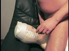 Oral rubber doll and titty fuck