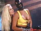 Sub babe with a mask orally pleasures her dominas pussy