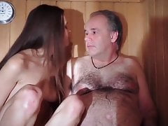 Sexy girl with old man in sauna