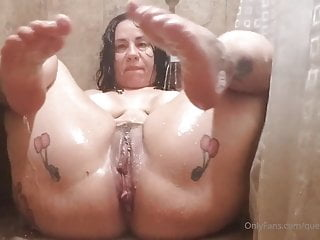 Latina mama in shower