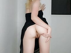 The slut undresses for the camera and plays with pussy.