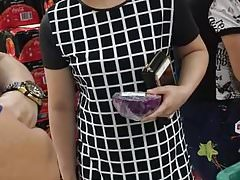 MILF in checked dress