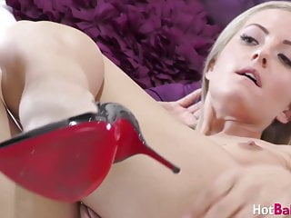 amazing blonde sicilia toys pussy in high heels soloporno videos
