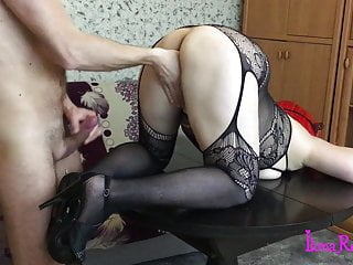 Doggystyle on the table. Licking ass, cum on heels.