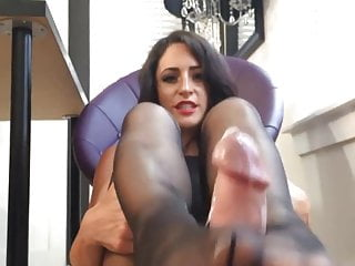 Girlfriend gets hot cum on sexy feet in black nylons