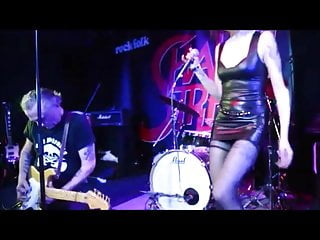 Singer Alicia Fiorucci stockings upskirt on stage