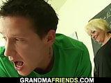 Old blonde granny teach boys teen