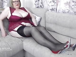 Red Basque and black stockings with red seams