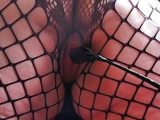 Fishnet shaking spanked whipped crop...