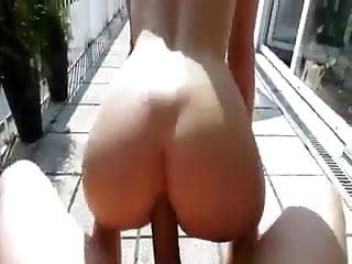 Blonde babe sucks dick at the balcony