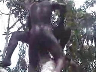 African amateur fuck on the tree