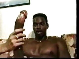 She Calmly Handles His Massive Black Cock Until It Explodes