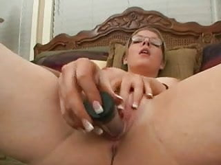 Horny milf with glasses toying her pussy...