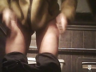 Babe Blonde Petite Black girl Thong Toilet Spy