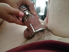 Hubby Caged, Released, Milked, Denied. Wife Cums