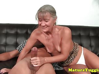 Tugging cock on couch...