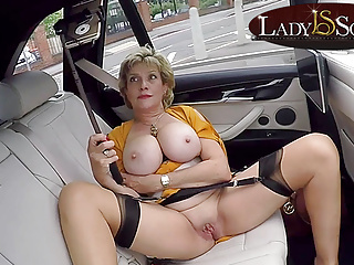 Lady Sonia pussy her with  car the in playing