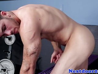 Athletic twunk beating off his pulsating cock...