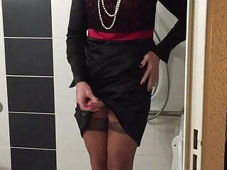 In satin dress...