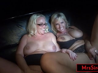 2 milf hotwives serve as public jackoff material...