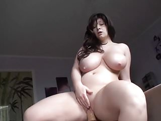 Big titted German riding dildo