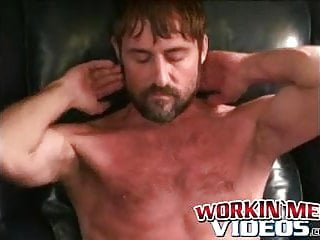 Mature hairy hunk pulls on his throbbing boner...