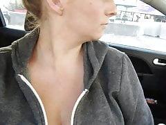 Big Tits in the Car