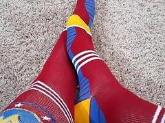 My feet and legs in superhero socks