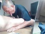 Old chinese grandpa sucking cock