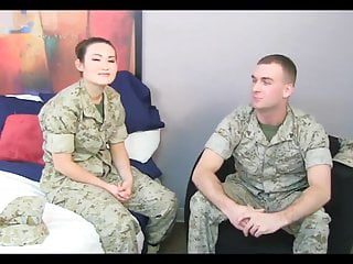 Asian Marine Girl With Mom