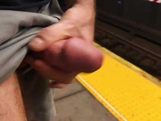 hot macho jerks off in the subway