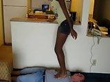 Black Goddess trampling a loser