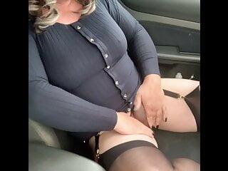 Horny carpark wank stockings pantyhose panties heels cumshot