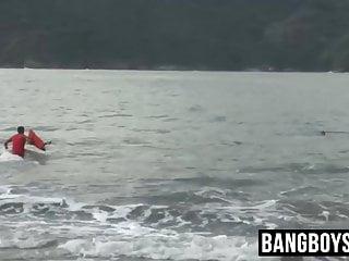 Lifeguard bangs cute jock after saving him beach...