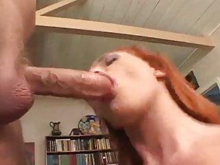 Small Tits Redhead Rides A Big One