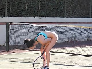 Mature Cunt Gorgeous video: Bottomless entertainment on the tenniscourt