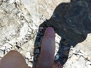 Jerking off on public beach...